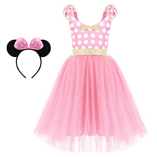 (Kids Minnie Costume Flower Girl Tutu Dress Mouse Ear Headband Polka Dot First Birthday Halloween Fancy Dress Up Princess Outfits X# Pink Long Dress+Headband 3-4)
