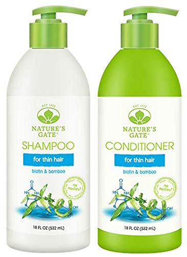 Natures Gate All Natural Organic Strengthening Biotin Thickening Shampoo and Conditioner Bundle for Hair Loss or Thinning Hair with Jojoba, Borage, Panthenol & Nettle, Sulfate Free, 18 fl. oz. Each