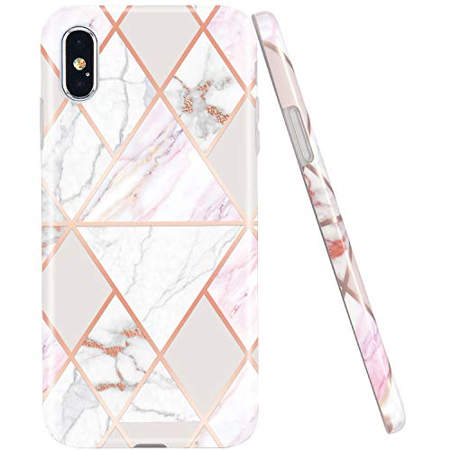 JAHOLAN Compatible iPhone X Case iPhone Xs Shiny Rose Gold Geometric Pink Marble Design Clear Bumper Glossy TPU Soft Rubber Silicone Cover Phone Case