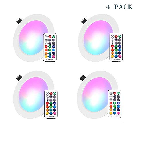 LED Recessed Lights, 4 inch RGB Downlight,10W(Equivalent 60w), 850 lumens, 16 Colors Changing RF Remote Control LED Ceiling Panel Light for Birthday Party/KTV Decoration/Household/Bar 4 Pack