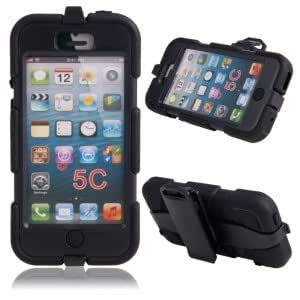Hard Plastic Protective Case w/ Stand Holder for iPhone 5C Black