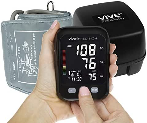 Vive Precision Blood Pressure Machine - Automatic Cuff Mini Monitor - Small, Compact BPM - Large Upper Arm Sphygmomanometer for Accurate BP Meter, Pulse, Heart Rate, Heartbeat Readings - Large Display
