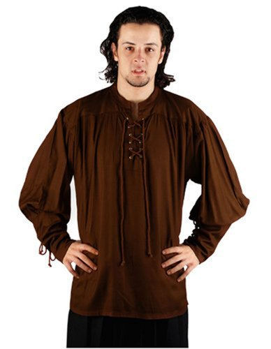 Pirate Buccaneer Renaissance Medieval Costume Shirt (Large, Chocolate)