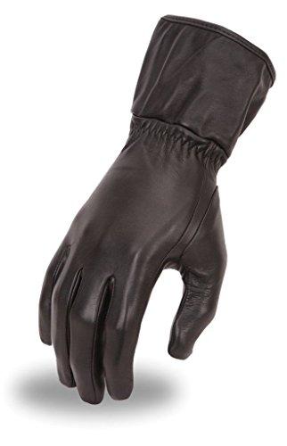 (Firstgear Motorcycle Women's Ultra Long Warm Insulated Blk Leather Butter Soft Gloves New (L Regular))