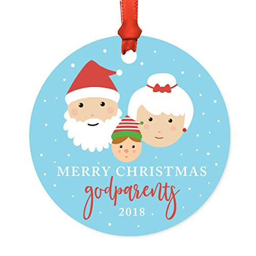 Andaz Press Family Metal Christmas Ornament, Merry Christmas Godparents 2018, Santa and Mrs. Claus with Elf, 1-Pack, Includes Ribbon and Gift Bag -  APP12160