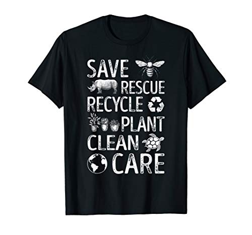 Save Bees Rescue Animals Recycle Plastic T Shirt Earth Day
