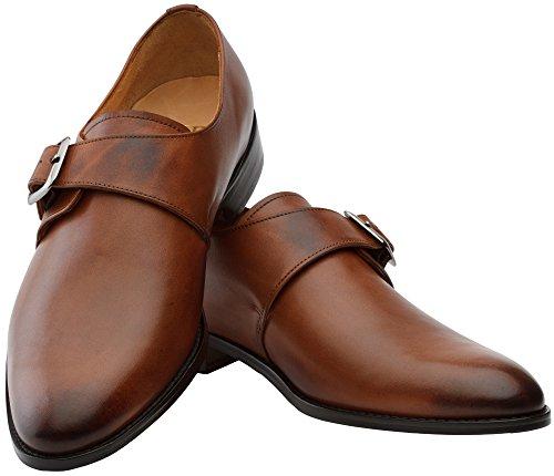 outlet sale online find great cheap online 3DM Lifestyle Handcrafted Men's Genuine Leather Plain Single Monk Strap Modern Classic Dress Shoes Cognac discount fashionable buy cheap footlocker finishline Osg91Fm