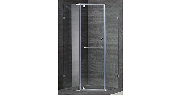 Aston Contemporary Modern 38 X 38 Neo Angle Semi Frameless Shower Enclosure Brushed Stainless Steel