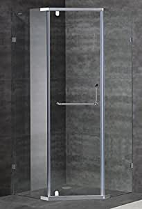 """Aston Contemporary/Modern 38"""" x 38"""" Neo-Angle Semi-Frameless Shower Enclosure, Brushed Stainless Steel"""