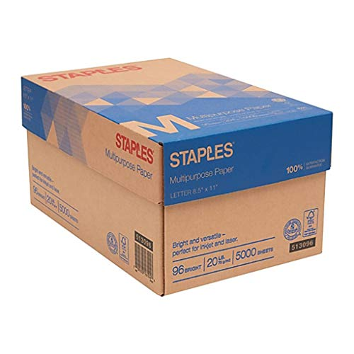 Staples Multipurpose Inkjet and Laser Paper, Bright White, 20 lb, 5000 Sheets/Case