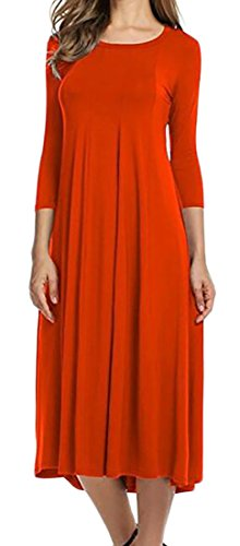 3 4 Solid Pleated Color Crewneck Cotton Mid Womens Orange Hem Sleeve Dress Cromoncent BqEaE