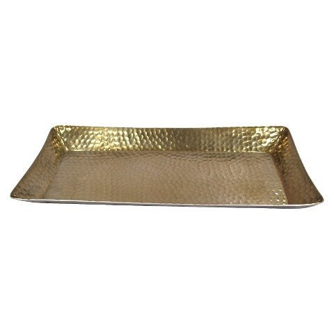 Tray Serving Aluminum Hammered (Threshold™ Metal Hammered Serving Tray - Gold)