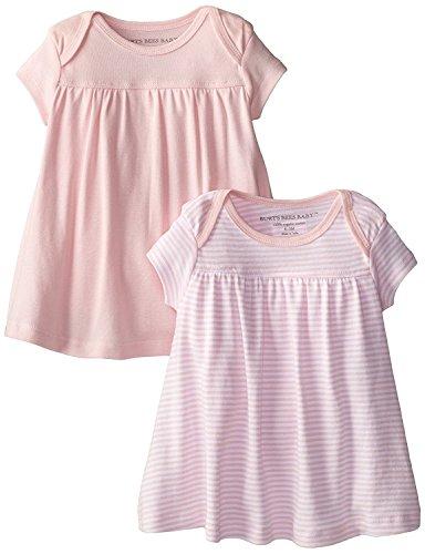 Burt's Bees Baby - Set of 2 Bee Essentials Short Sleeve Lap Shoulder Dresses, 100% Organic Cotton, Blossom, 3-6 Months