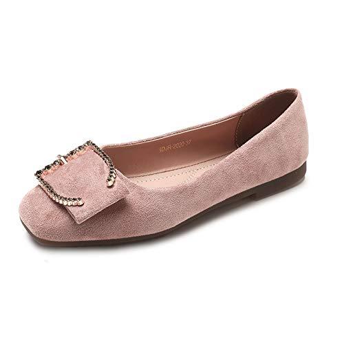 FLYRCX Zapatos Planos Retro de la Moda Zapatos Planos Ocasionales del Ante Zapatos de Las Mujeres Embarazadas Zapatos de Las señoras Zapatos de Trabajo C