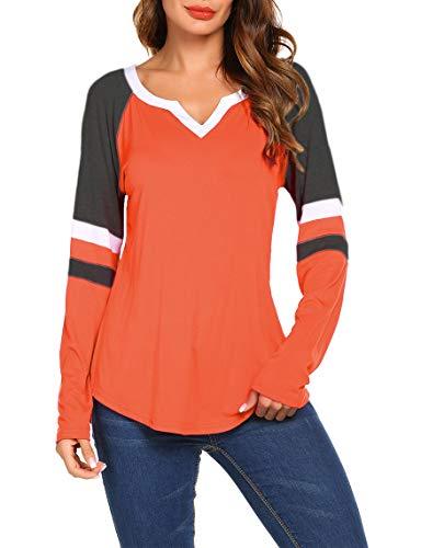 111bb3e408345 Women s Long Sleeve V Neck Raglan Shirts Loose Blouse Tops Casual Striped  Tunic Tee Shirts