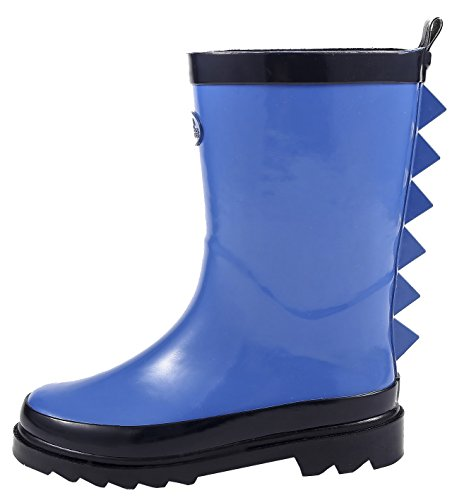 Outee Toddler Boys Kids Rubber Rain Boots Blue Waterproof Shoes in Solid Color Shark Fin Removable Insoles Anti-Slippery Durable Sole with Grip (Size - Kids Focus Shoes