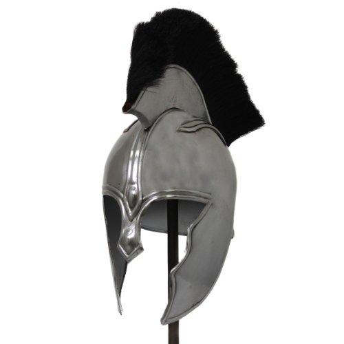 Antique Replica The Illiad Achilles Steel Armor Helmet - Black Plume