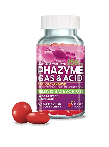 Phazyme Gas & Acid, Maximum Strength Cherry Chewable Tablets, 250mg Per Tablet, 24 Tablets Per Bottle (12 Bottles)