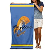 NFHRRE Woods Cool Fox Play Skateboard Adults Cotton Beach Towel 31 X 51-Inch