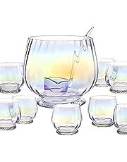 Godinger Monterey Punch Bowl, Ladle and 8 Cups - 10 Piece Set