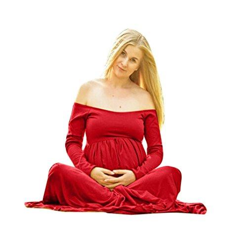 Robe Printemps Maternit Longues Mode LMMVP Manches Robe rouge Longueur La Femmes Photographie La Femme paule Enceinte LMMVP du Femmes Mini Robe Sol CHn5HR