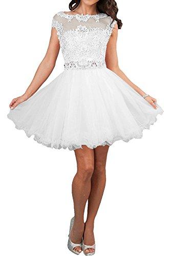 Festlichkleider Braut Promkleider Cocktailkleider Partykleider Linie A Weiß La Rosa Marie Mini Tuell Spitze Rock 45xX0wS8nq