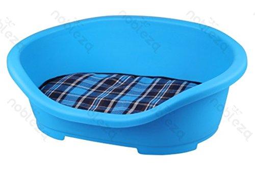 FORPET® 002641 Cuccia lettino rigido per cani con materasso, cuccia per cane con materasso, cuscino per animali, lettino per cane con cuscino, Azzurra con cuscino a scacchi 47.5x34x18cm Nobleza