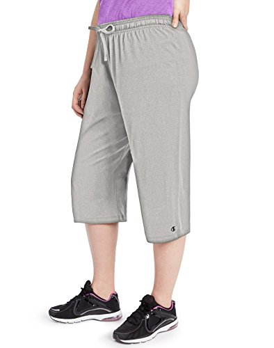 - Champion Women's Plus Jersey Capris_Oxford Grey_3XL