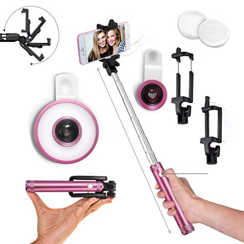 Perfect Selfie Kit, Cell Phone Lens Kit + Fish Eye Lens + Wide Angle Lens + Selfie Stick + Selfie Ring Light iPhone, Android Galaxy LED Light, Smartphones (Pink)