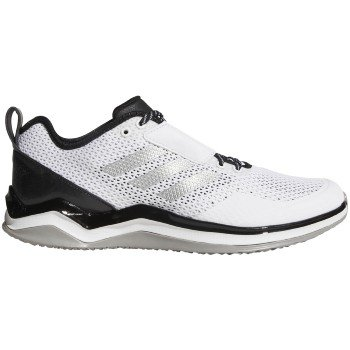 adidas Speed Trainer 3 (2E Wide) Shoe Men's Baseball 14 White-Metallic Silver-Black