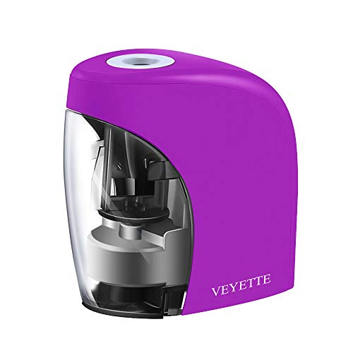 Electric Pencil Sharpener, VEYETTE Purple Portable Pencil Sharpener Perfect for Kids, Teachers and Artists, Plug & Battery Operated,USB Included