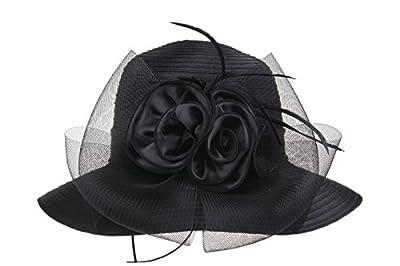 Prefe Lady's Kentucky Derby Dress Church Cloche Hat Bow Bucket Wedding Bowler Hats
