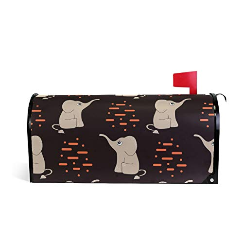 Senuu Elephant Love Wall Magnetic Mailbox Cover Mailwraps for Medium Large Post-Mount Mail Box -