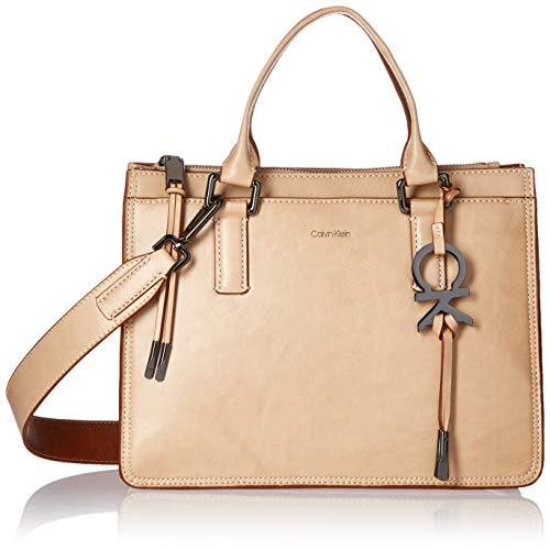 - Calvin Klein Brynn Athene Wash Leather Top Zip Satchel, barley