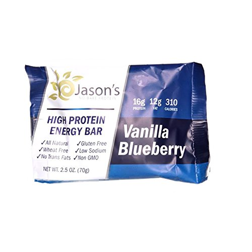 Jason's No Bake Protein ~ Vanilla Blueberry ~ 12 Pack ~ All Natural Nutrition Energy Bar