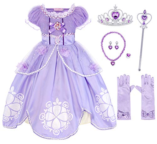 Cotrio Sofia Costume Dress Up Girls Princess Dresses Halloween Outfit with Accessories (10, 9-10Years, Gloves, Tiara, Scepter, Necklace, Ring, Earrings) -