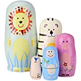 Childplaymate Matryoshka Dolls 5pcs Cartoon Animal Wood Russian Nesting Set Painted Toys Birthday Gift for Kids Decoration