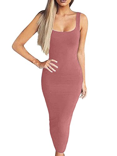 Casual Pink Sleeveless Basic Dark Tank Dress Women's Solid Bodycon BEAGIMEG Long wIHFYvq7x