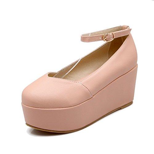 Amoonyfashion Donna Materiale Morbido Rotondo Punta Chiusa Fibbia Tacco Alto Scarpe-scarpe Rosa