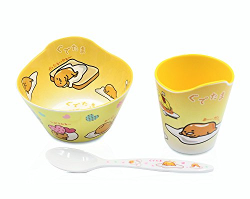 Finex Set of 3 - Yellow & White Gudetama Meal Set - Cup, Spoon, Bowl Kids Dinner Meal Dishes Feeding set for toddlers Microwave Dishwasher safe