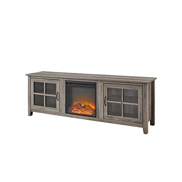 Walker Edison Bern Classic 2 Glass Door Fireplace TV Stand for TVs up to 80 Inches, 70 Inch, Grey Wash