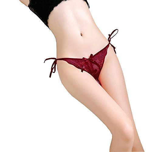 Red Crotchless Panty (Vivly Bodas Women's Crotchless Lace Thong Side Tie Panties Wine Red XXS/XS/S)