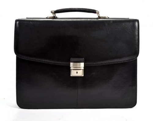 Tony Perotti Computer Italian Leather Double Compartment Laptop Briefcase, Black, One ()