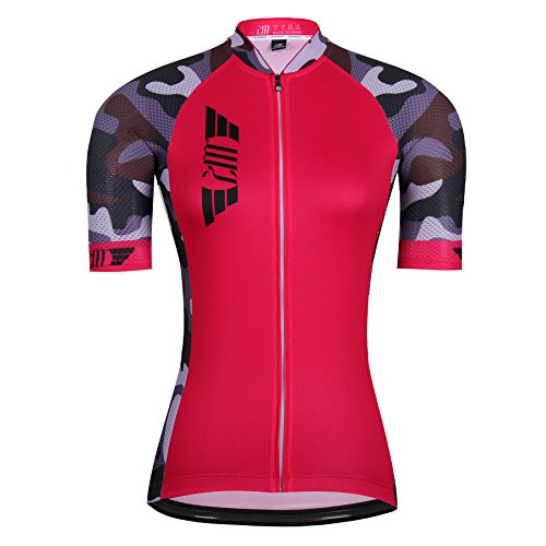 Women Short Sleeve Cycling Jersey Shirt Full-Zip Breathable Outdoor Sports Shirt Bicycle Clothes,5,Asia -M
