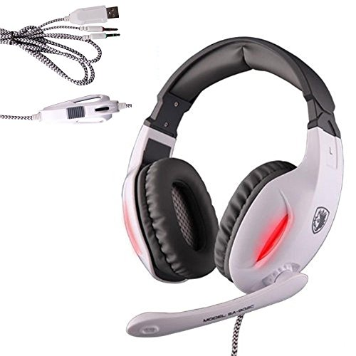 Sades Gaming Headset 3.5mm Wired Stereo Headphone Headband LED Light Over-Ear Noise Cancelling Headphones with Microphone Volume Control for PC Computer (white) by Sades