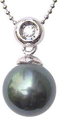 真珠 パール ペンダントトップ タヒチ黒蝶真珠 11mm ホワイトゴールド K18WG