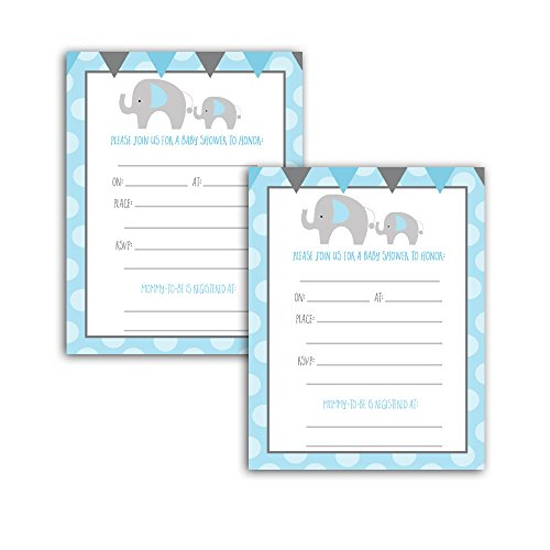Blue Elephant Boy Baby Shower Invitation Cards Fill-in (20-count)