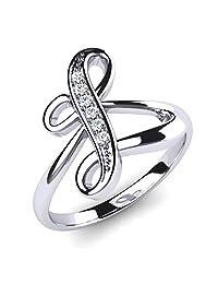3djewels 0.04 Cts Round Sim Diamond L Letter Wedding & Engagement Ring 14K White Gold Fn