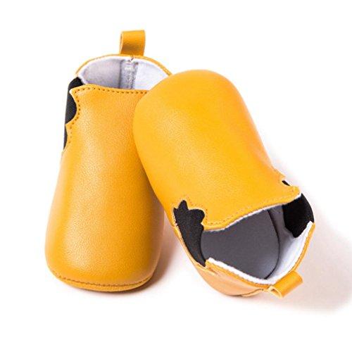 HUHU833 Kinder Mode Junge Mädchen Schuhe Babyschuhe Anti-Rutsch Soft Sole Leder Kleinkind Schuhe Säuglingsschuhe (0~12M) Gelb