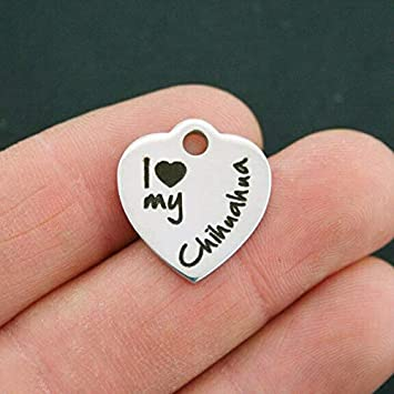 BFS704 Chihuahua Stainless Steel Charm I Heart My Chihuahua